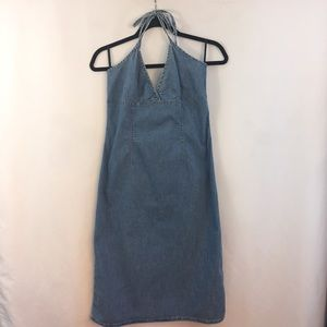 H&M Denim Dress Women 10 Sun Halter Jean Tie Neck